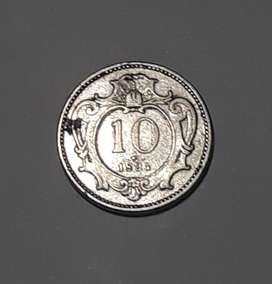 Moneda de Austria de 1894, 10 heller, VF