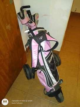 Vendo palos de golf con carrito para niños