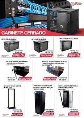 Bandejas, Patch Panel, Switch, Gabinete, Rack Cerrado 6 UR, 9UR,  12UR,  Beacoup Servidor Rack - Cableado Estructurado