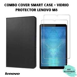 Cover Smart Case +Vidrio Protector Lenovo M8