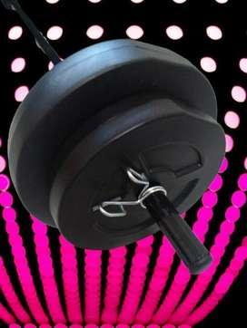 Kit Barra y Discos pvc rellenos . Para programa de Musculación. 15 kg en Discos