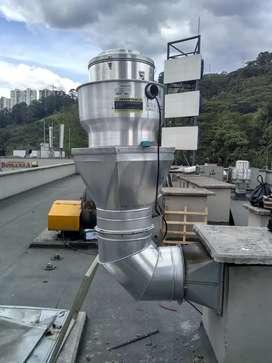 Extractor tipo hongo humo, calor y olores. Instalación y mantenimiento de ductos y camapanas
