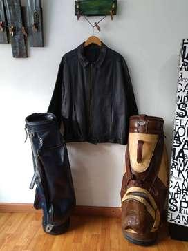 Elementos en cuero Bosas de golf y chaqueta de cuero