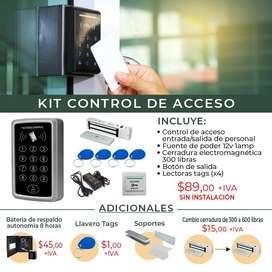 Control de Acceso /Respaldo de batería/Acceso/boton de salida/cerradura electromagnetica.Quito-Guayaquil