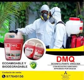 EN VENTA! Potente desinfectante Virucida DMQ, compuesto por Amonio Cuaternario de 5ta generación, único con registro