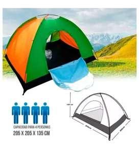 Carpa camping de 2 a 4 personas armable colores variados