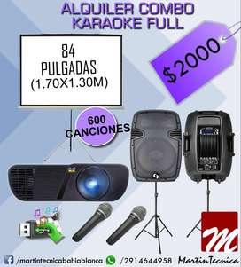 ** Combo full karaoke con proyector pantalla videos pistas musica microfonos bafles **