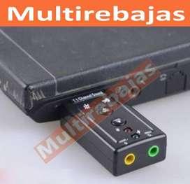 Excelente Tarjeta Adaptador Audio Sonido Usb Mic 7.1 Dj Mix Pc Laptop