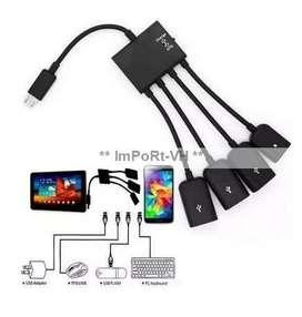 Cable Otg Multifuncional 4 En 1 Hub Usb Tipo Micro Usb 2.0
