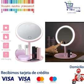 Espejo de Maquillaje Redondo con Aro de Luz Tactil y Base Para Accesorios Make Up Mirror
