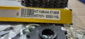 Kit relación  yamaha xt660/xtz250 con cadena orrinada. Garantizada al 100%
