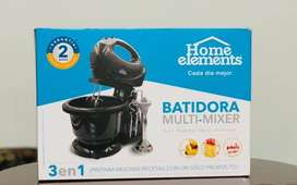 SE VENDE Batidora 3 en 1 home elements multi-mixer negro