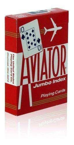 Naipes Para Poker Aviator Rojos Jumbo Index 54 Cartas Rojos