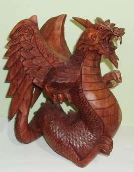Escultura / Figura Dragón Alado Tallada Madera Teca Grande
