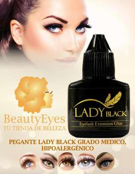 Pegante Lady Black Grande 10 ml, adhesivo para pestañas pelo a pelo