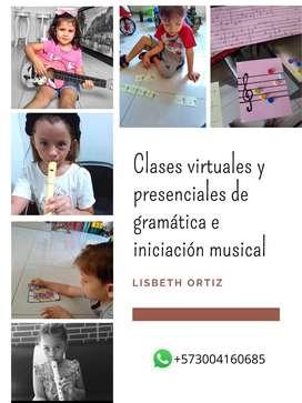 Se ofrecen clases  virtuales y/o presenciales de piano, guitarra, clarinete, flauta dulce e iniciación musical