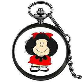Collar reloj Mafalda Negro