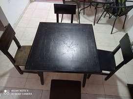 Venta mesas y sillas madera para negocio