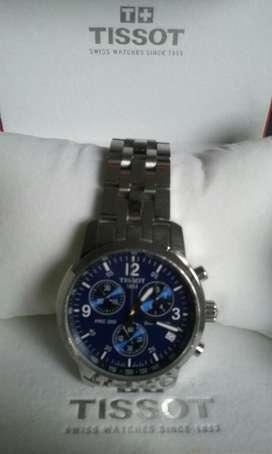 Reloj Tissot Cronografo Acero Original plateado cobalto AZUL