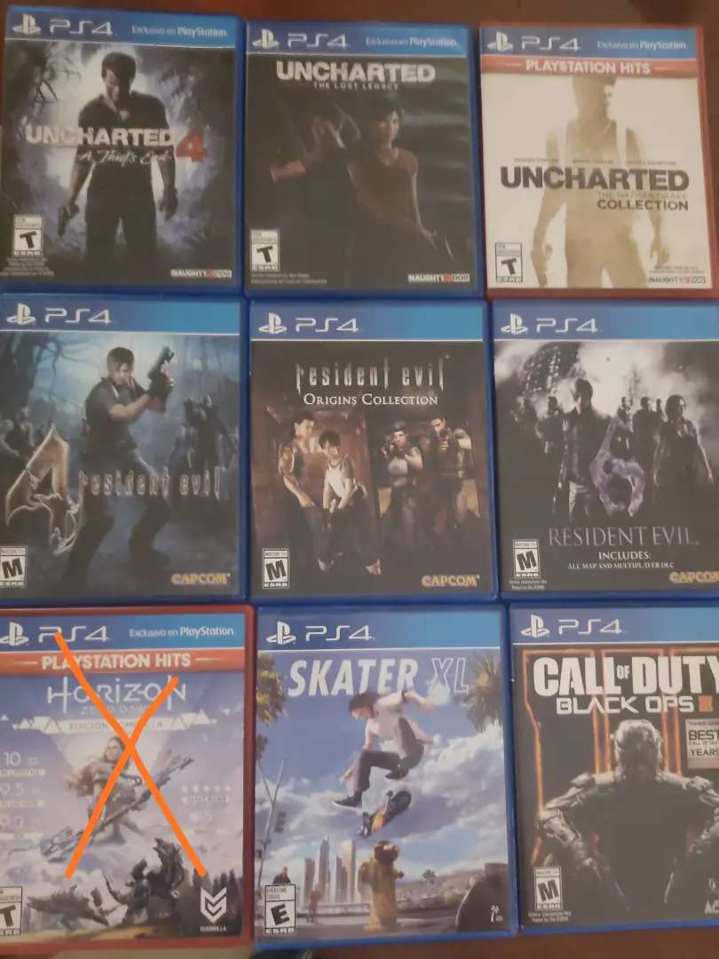 Videojuegos para PS4  50 cada auno o cambio