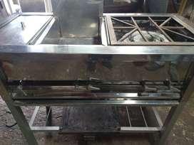 Estufa industrial con fogón ,plancha,vaporizador