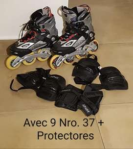 Patines Abec 9 Nro.37 Y Protectores