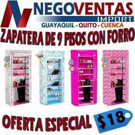 ZAPATERA DE 9 PISOS CON FORRO , ZAPATERAS