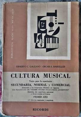 Cultura Musical - 1° Año - Galeano/Bareilles - Ricordi 1966