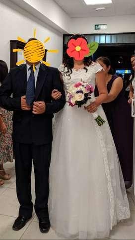 Hermoso vestido de novia, una sola puesta económico