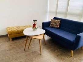 Vendo Sala (Sofa + Puff + Mesas de centro) y Sillas de barra (x2) en conjunto o por apartee