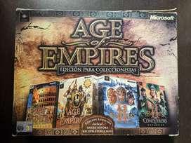 Paquete Age of Empires EDICIÓN LIMITADA para coleccionista. Incluye 4 CDs originales y manuales exclusivos de la saga.