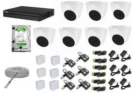 kit de 7 camaras de seguridad domo full hd 2 megapixeles 1080p 2mp dahua + Disco 1 TB + Dvr de 8ch