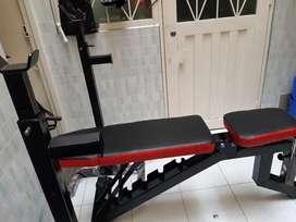 Banco de pesas + extension de pierna + predicador + soporte barra