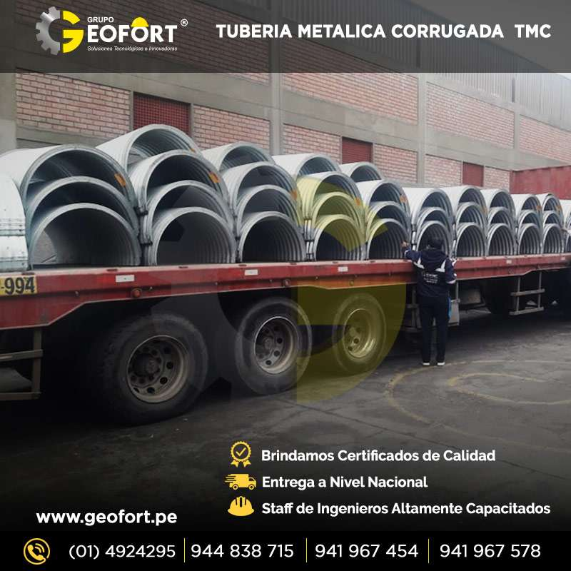 DISEÑO , FABRICACION E INSTALACION DE TUBERIAS METALICAS CORRUGADA TMC DESDE 24 Y MEDIDAS ESPECIALES  STOCK  GEOFORT SAC 0