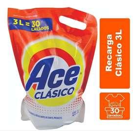 Ace Clasico Jabon Liquido 3 Litros Baja Espuma 30 Lavados