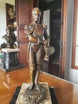 Escultura bolivar cuerpo completo, bronce y base mármol