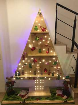 Arbol de Navidad en madera Plegable con luces, diferentes tamaños
