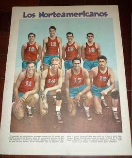 ANTIGUA LAMINA EL GRAFICO SELECCION BASQUET ESTADOS UNIDOS USA UNIVERSIRARIOS 1938 GIRA ARGENTINA