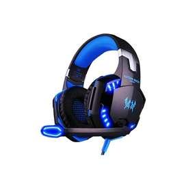 Audífonos G2000 negro y azul gamer con luz led