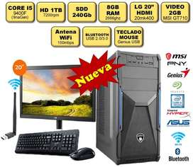 "PC Computadora CI5 9va/RAM 8gb/HD 1TB/SDD 240GB/VIDEO 2GB/LG20""/WiFi/Bluetooth"