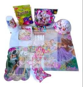 Kit Decoración Piñata Fiesta Infantil Rapunzel 12 Invitados