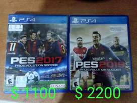 VENDO JUEGOS DE PS4 PES2017 $ 1100 Y PES 2019 $ 2200