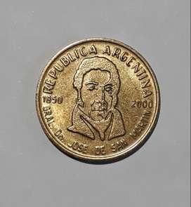 Moneda argentina, 50 centavos conmemorativos de San Martín, 2000, XF