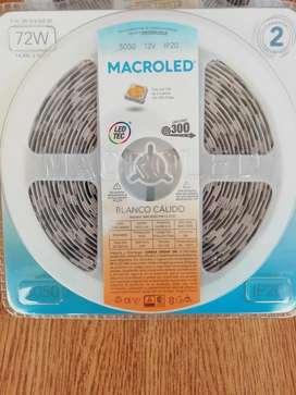 Tira Led 5050 Macroled Blanco Calido 5mts 300leds Ip20 12v