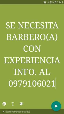 Se necesita Barbero o Barberá con experiencia