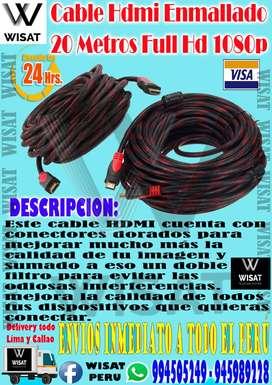 Cable Hdmi Enmallado 20 Metros Full Hd 1080p