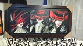 Venta de cuadro sombreronas  al oleo pintado a mano en lienzo