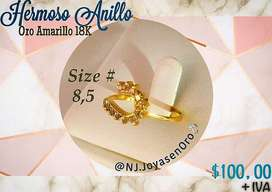 Hermoso Anillo en Oro Amarillo 18K