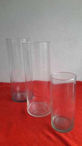 floreros tubo en vidrio