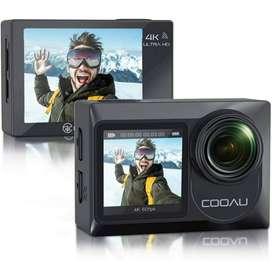 VENTA DE COOAU Cámara deportiva de doble pantalla Ultra HD 4K 60FPS 20MP WiFi EIS micrófono externo